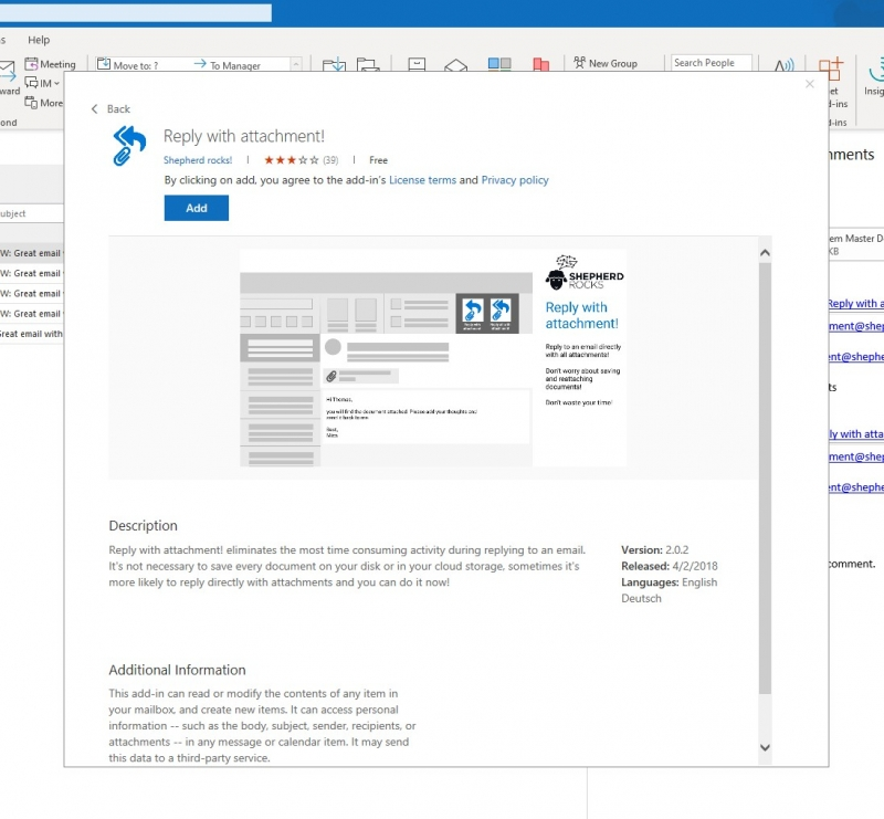 Install reply with attachment in Outlook via Add-in details page