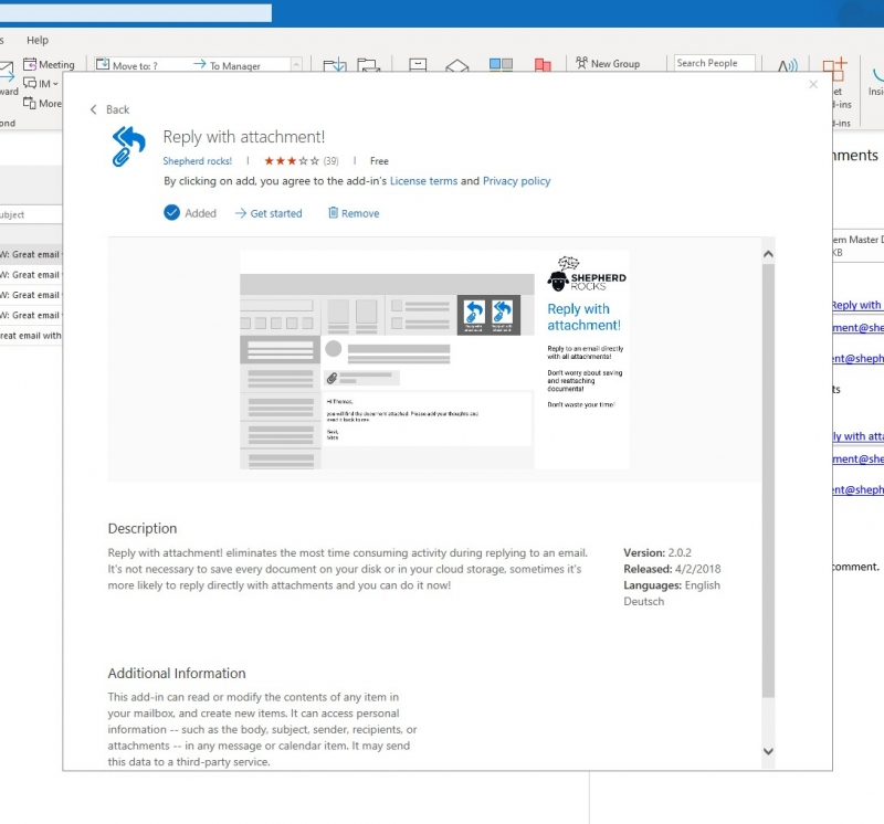 Add-in installation successful in Outlook 2016