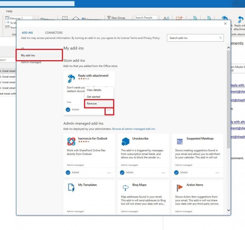 Removing Add-ins in Outlook 2016