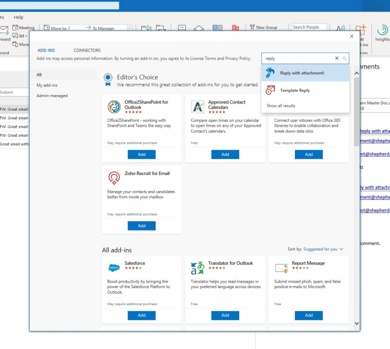 Search for Reply with Attachment in Outlook 2016 Add-ins