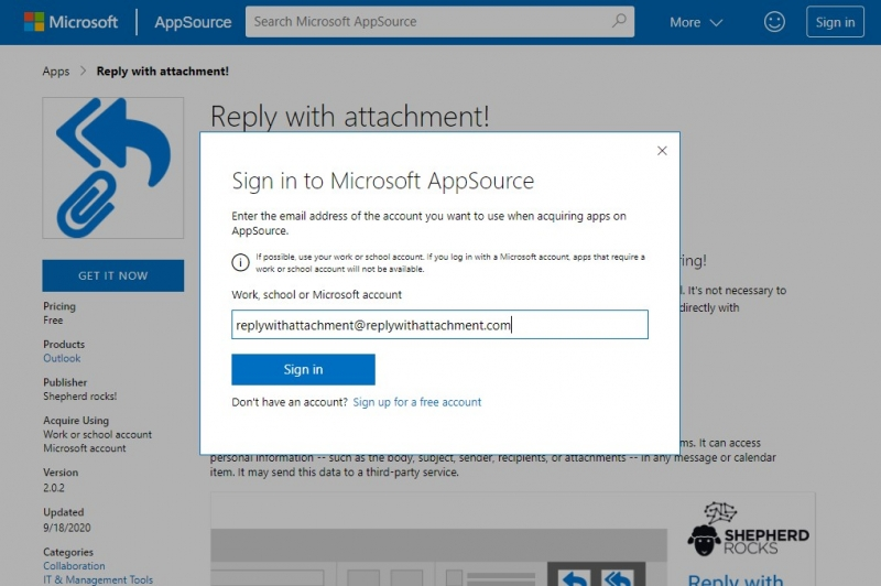 Sign in to Microsoft AppSource e. g. with your Office 365 account